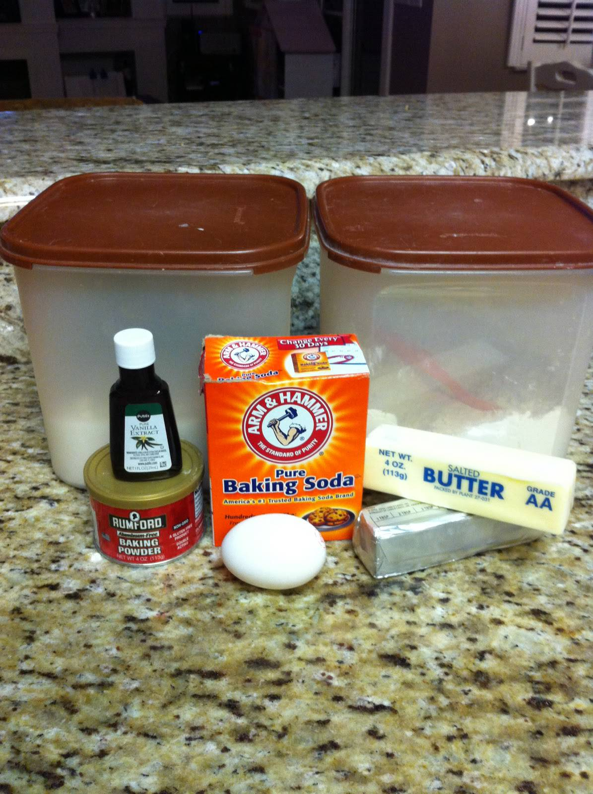 Mix together: 1 cup butter, 1 & 1/2 cups sugar, 1 tsp. vanilla extract, 1  egg, 1 & 3/4 cups flour. Slowly mix in 1/2 tsp. baking powder, 1 tsp. baking  soda, ...