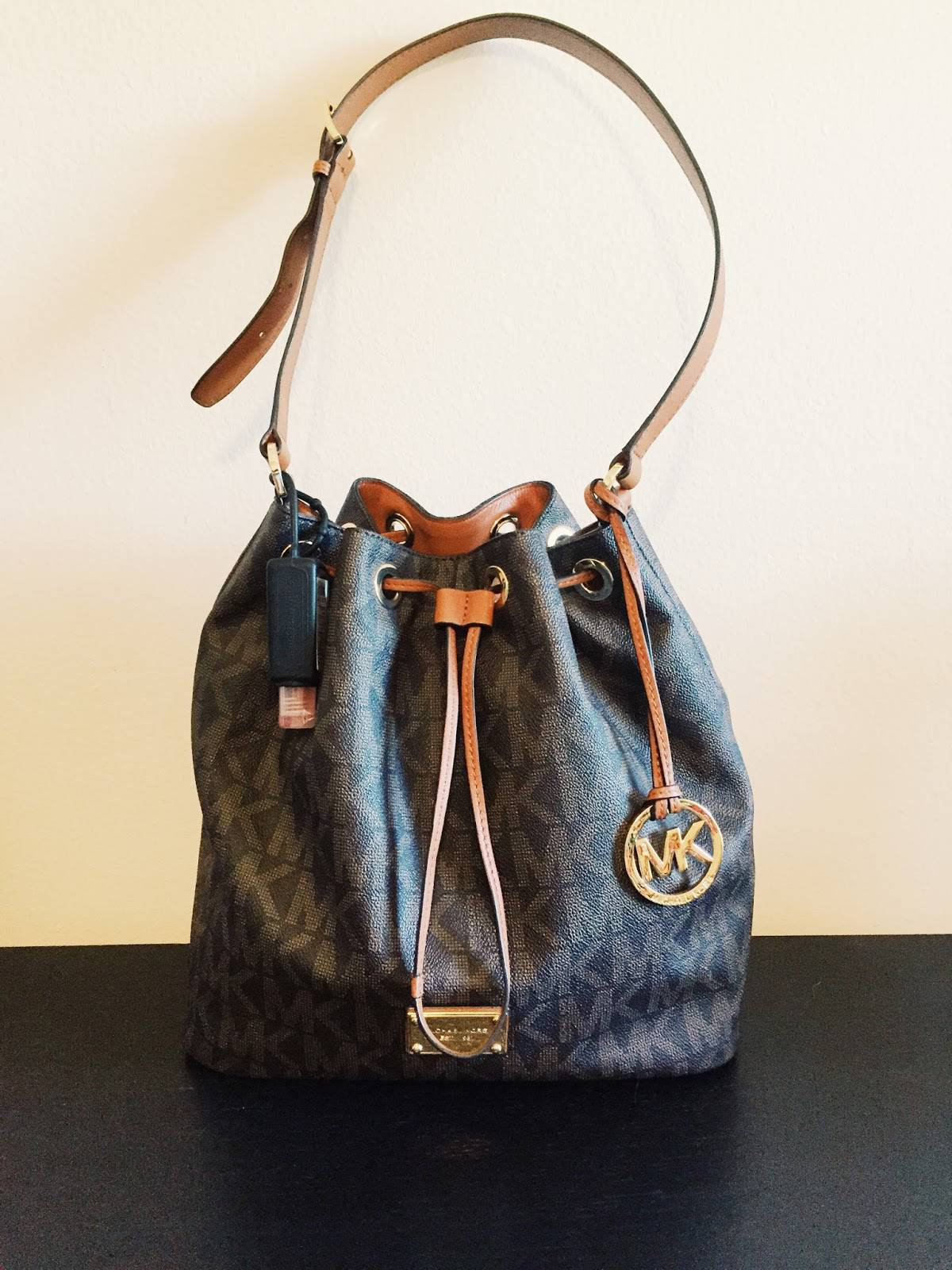637662ea9e528a What's in My Bag: Michael Kors Jules Drawstring - Small Towns & City Lights