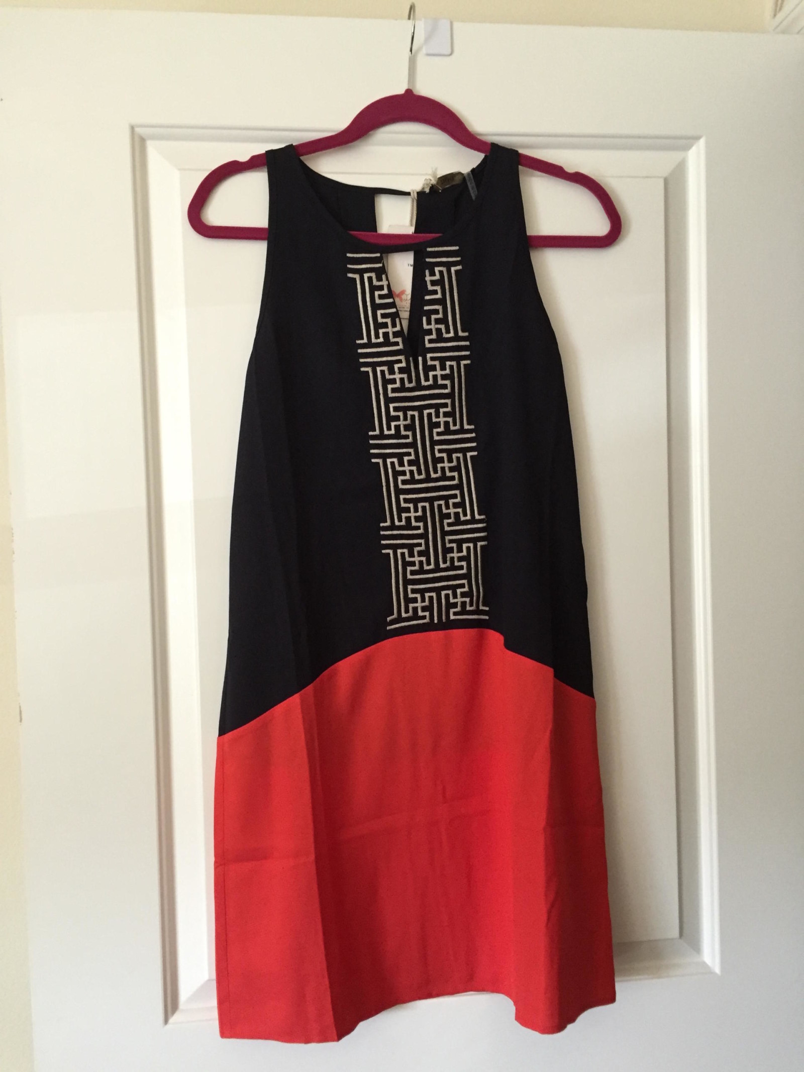 THML Abriana Colorblock Embroidered Dress